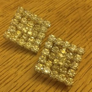 Vintage Luxe Rhinestone Clip Earrings
